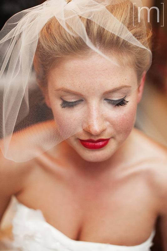 A portait of the bride under her veil