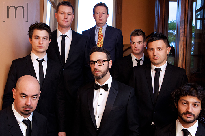 A photo of the groomsmen at the gladstone hotel