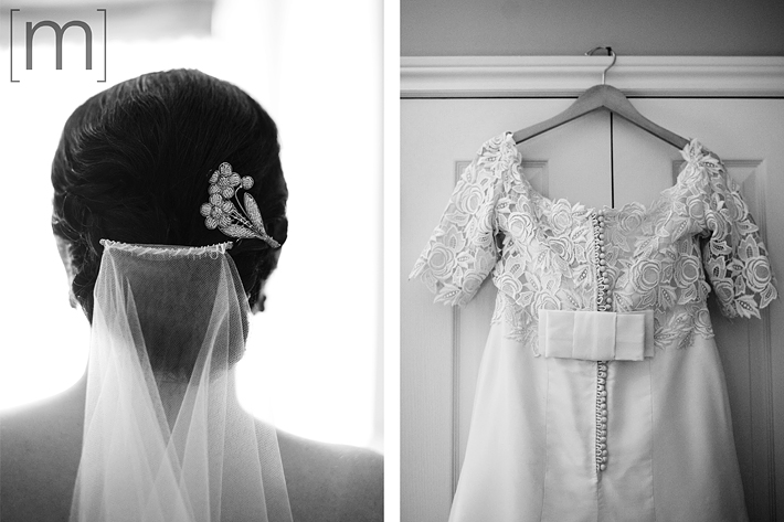 a photo of the brides dress and hair piece in toronto