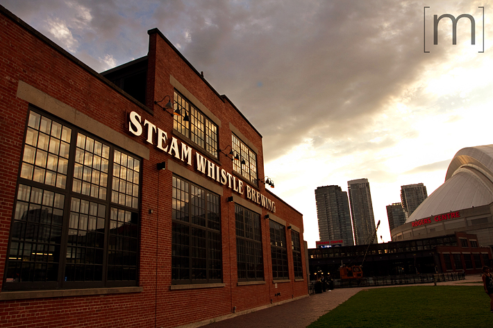a photo of the Steamwhistle Brewery at sunset