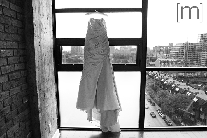 A photo of the wedding dress at canoe restaurant