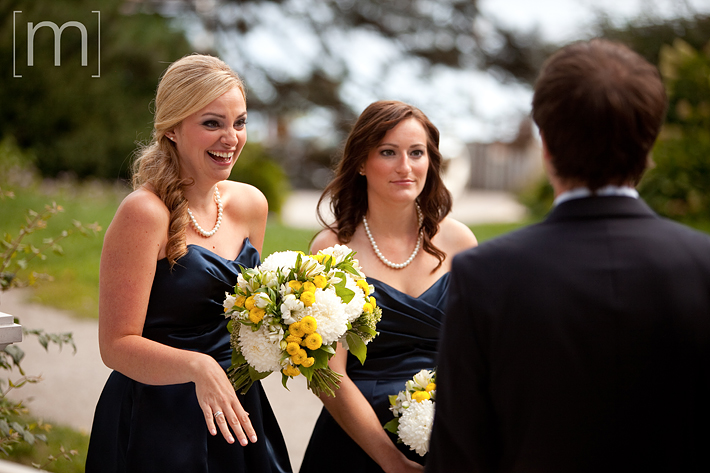 a photo of a bridesmaid laughing at erchless estate in oakville