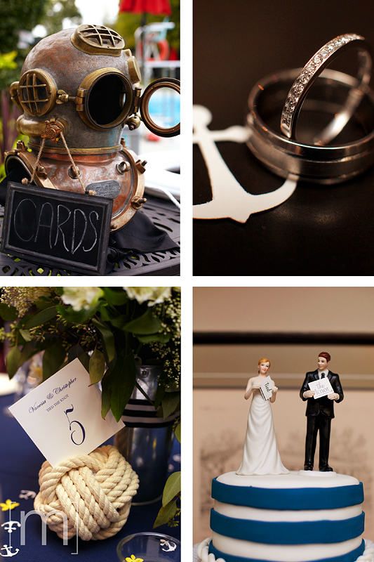 a photo of nautical wedding details at the oakville club