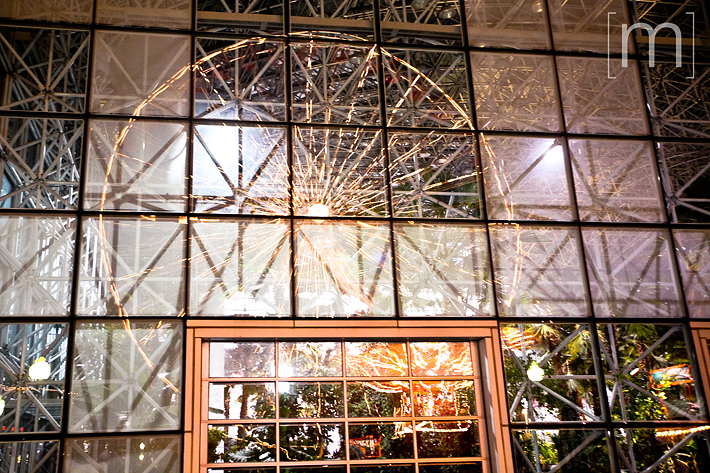 a travel photo of a reflection of a ferris wheel in chicago