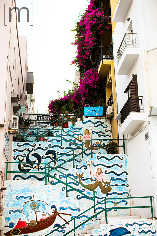 a travel photo of a painted wall in crete greece