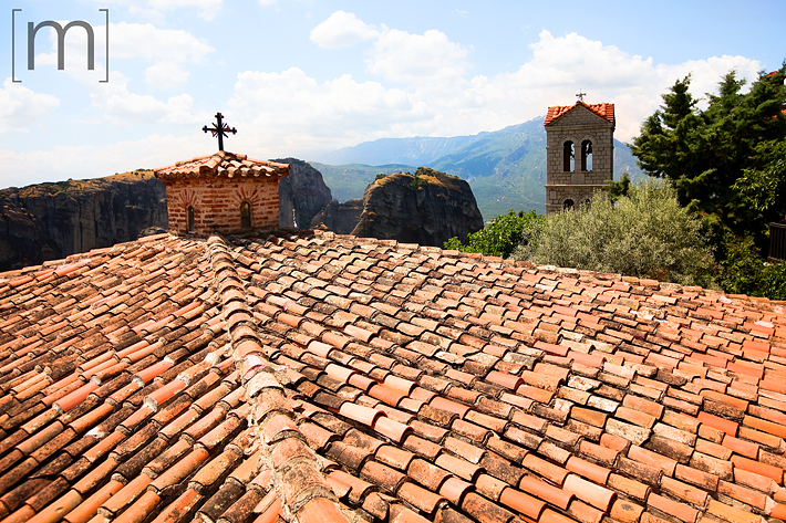 a travel photo of terracotta roofs in meteora greece