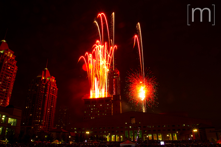 a photo of fireworks at a canada day event in mississauga