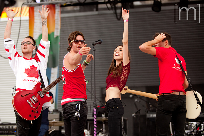 a photo of a live band at a canada day event in mississauga