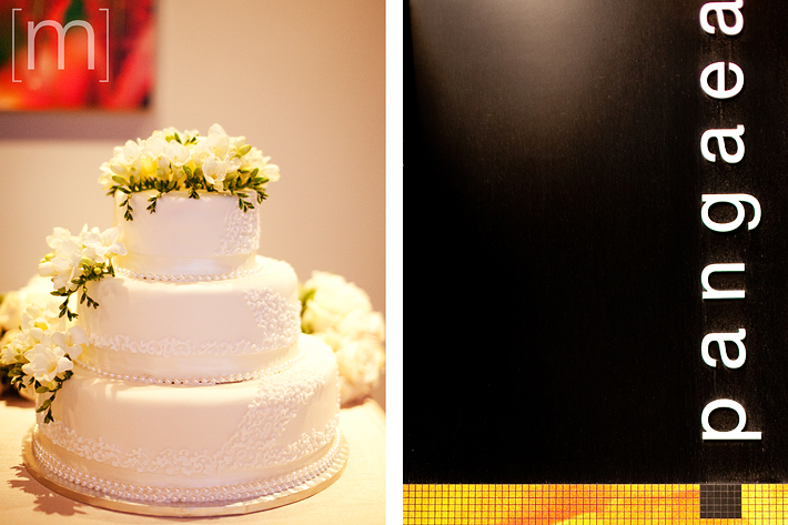 a photo of the wedding cake at pangaea restaurant toronto