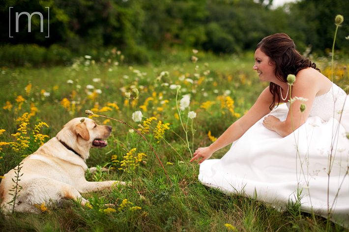 a photo of a bride and her dog sitting in a field at a wedding in uxbridge