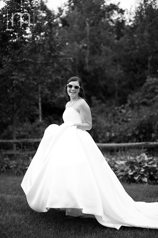 a photo of a bride with sunglasses at a wedding in uxbridge