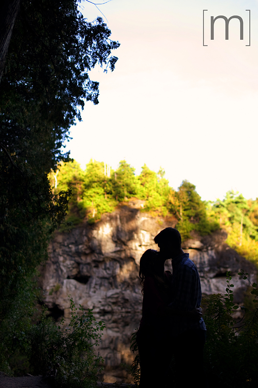 a photo of a silhouetted couple at an engagement shoot in rockwood