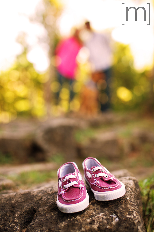 a photo of a couple with baby shoes at an engagement shoot in rockwood