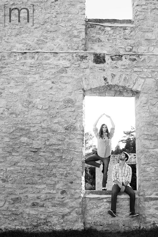 a photo of a couple with yoga pose at an engagement shoot in rockwood
