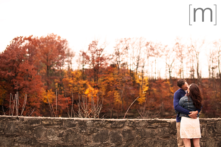 a photo of a couple kissing with colourful forest at a fall engagement photoshoot in balls falls