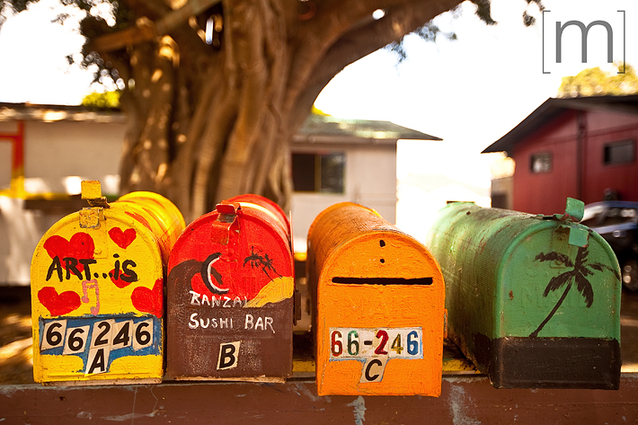 a travel photo of painted mailboxes on the northshore in oahu hawaii