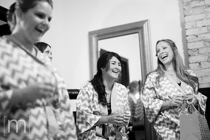 a photo of the bridesmaids laughing at the gladstone hotel toronto