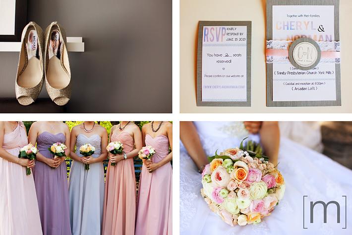 a photo of bridesmaid dresses at a wedding at arcadian loft toronto