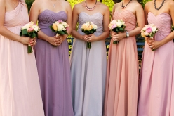 a photo of bridesmaid dresses at a wedding at arcadian loft toronto