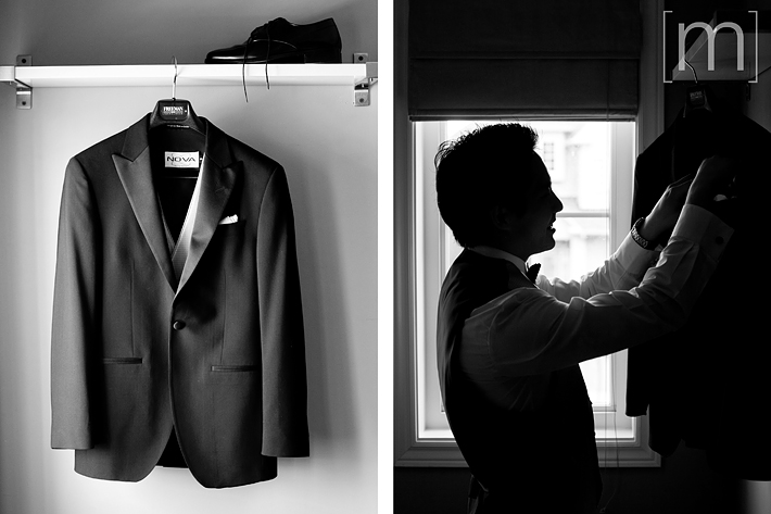 a photo of a groom getting ready at a wedding at arcadian loft toronto