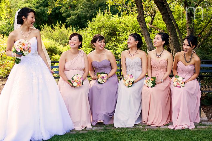 a photo of the bridesmaids at a wedding at toronto music garden