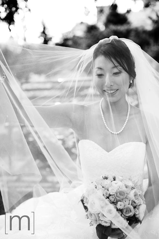 a photo of a veiled bride at a wedding at toronto music garden