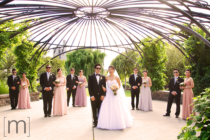 a photo of the wedding party at a wedding at toronto music garden