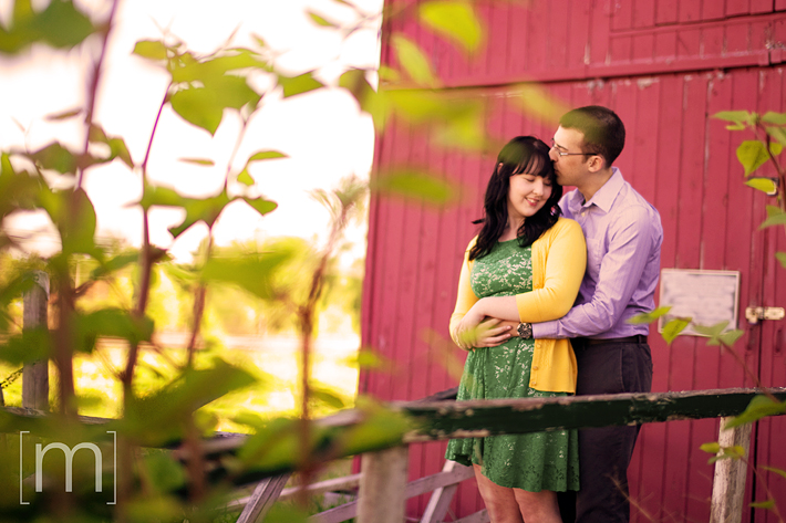 a photo of a couple kissing at an engagement shoot in brighton ontari