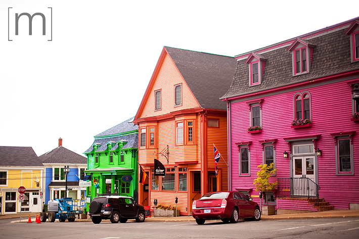a travel photo of a colourful downtown core in lunenburg nova scotia