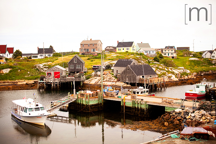a travel photo of peggys cove harbour in nova scotia