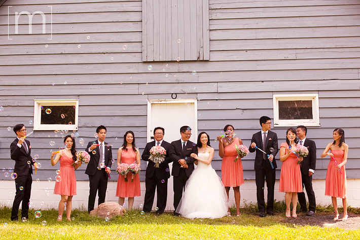 a photo of the wedding party blowing bubbles at a wedding at angus glen golf club markham