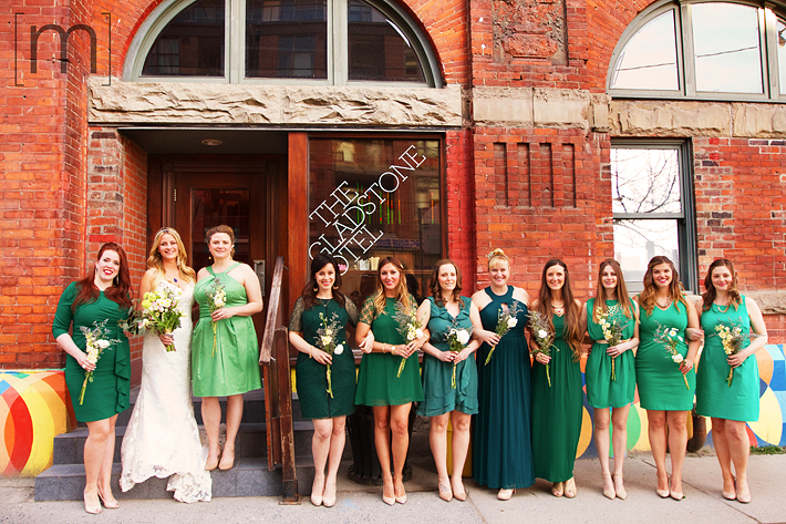 a photo of the bridesmaids at a wedding at the gladstone hotel toronto
