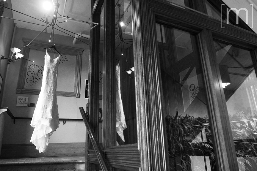 a photo of a dress hanging at a wedding at the gladstone hotel toronto