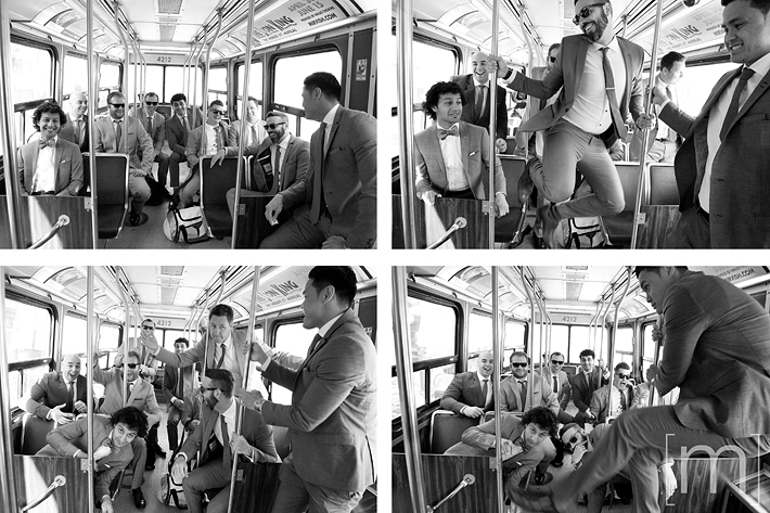 a photo of the groomsmen on a ttc streetcar at a wedding at the gladstone hotel toronto