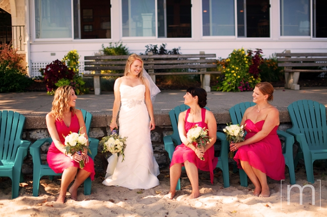 a photo of the bridesmaids at a wedding at buffalo canoe club fort erie