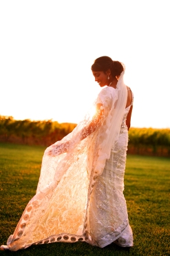 a photo of a bride in a sari at sunset at sue anne vineyard in niagara